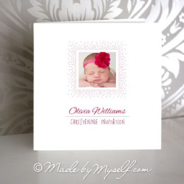 Custom Photo Christening Invitation (with printed dots)
